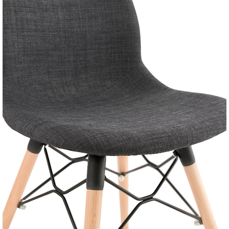 Design chair and Scandinavian fabric feet wood natural finish and black MASHA (anthracite grey) - image 48100