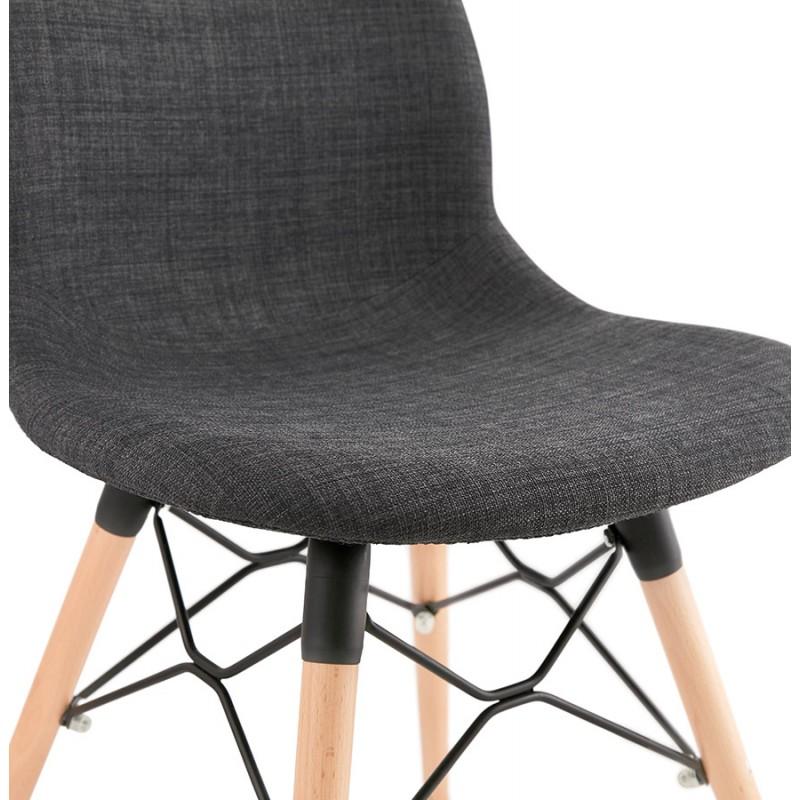 Chaise design et scandinave en tissu pieds bois finition naturelle et noir MASHA (gris anthracite) - image 48100