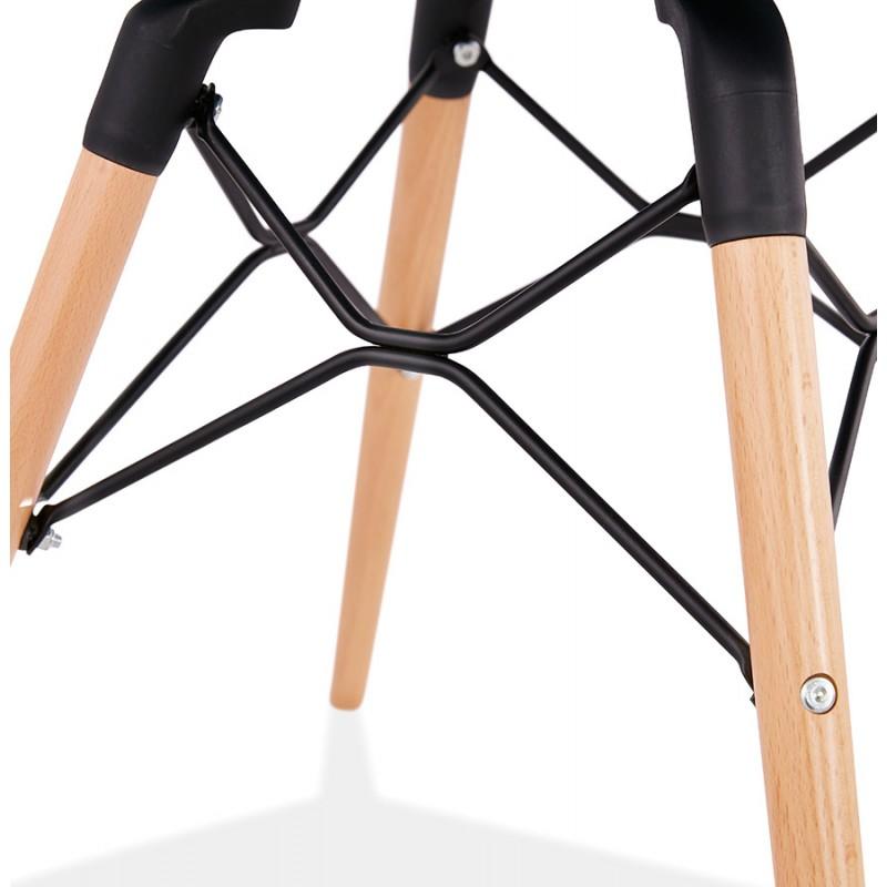 Chaise design et scandinave en tissu pieds bois finition naturelle et noir MASHA (gris anthracite) - image 48103
