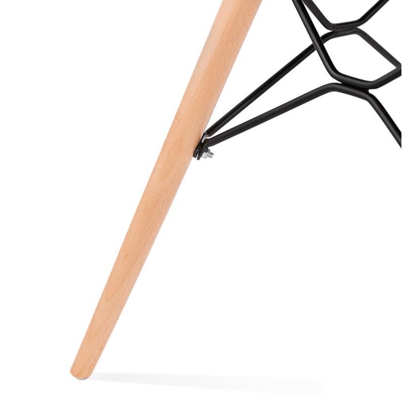 Chaise design et scandinave en tissu pieds bois finition naturelle et noir MASHA (gris anthracite) - image 48104
