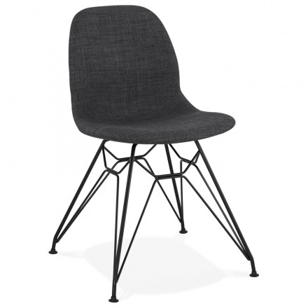 MOUNA black metal foot fabric design chair (anthracite grey)