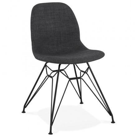 Chaise design industrielle en tissu pieds métal noir MOUNA (gris anthracite)