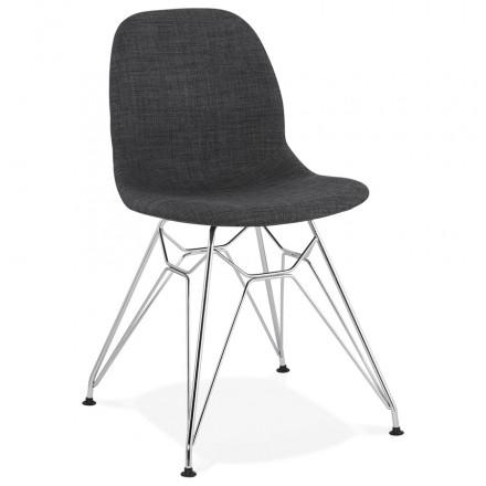 Chaise design industrielle en tissu pieds métal chromé MOUNA (gris anthracite)