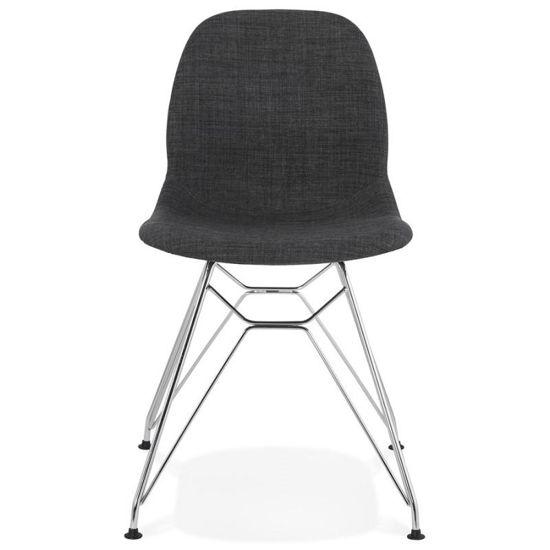 Chaise design industrielle en tissu pieds métal chromé MOUNA (gris anthracite) - image 48120