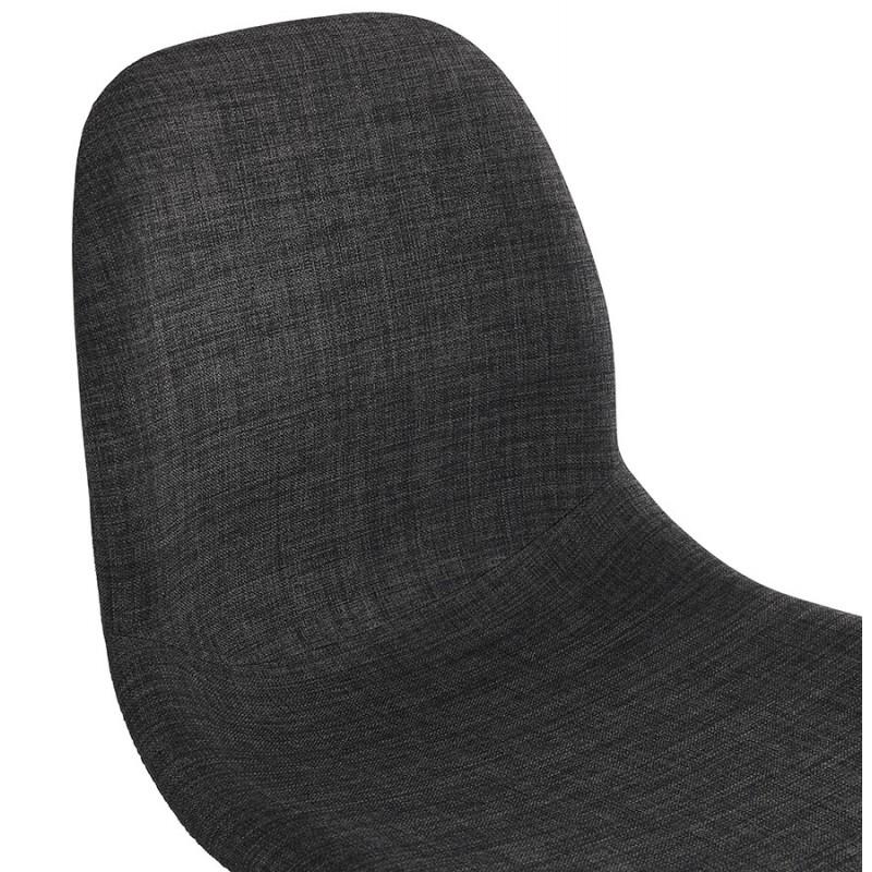 Chaise design industrielle en tissu pieds métal chromé MOUNA (gris anthracite) - image 48124