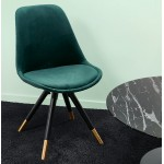 SUZON vintage and retro black and gold foot chair (green)