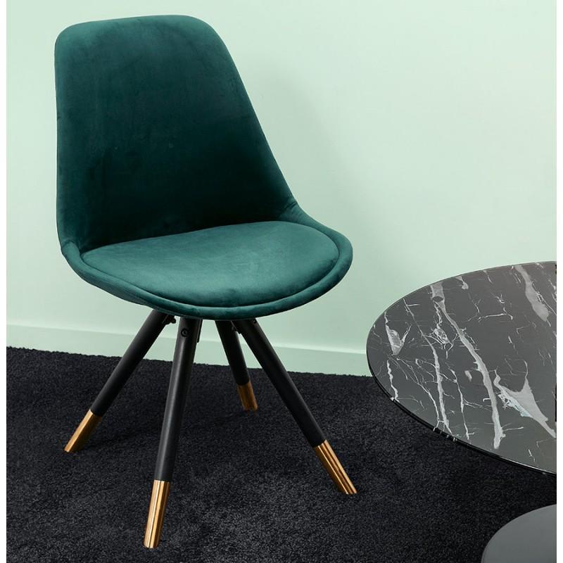 Chaise vintage et rétro pieds noirs et dorés SUZON (vert) - image 48226