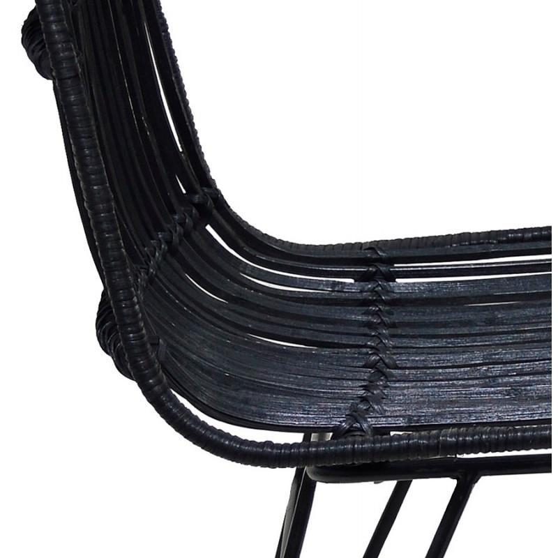 Chaise design et vintage en rotin pieds métal noir BERENICE (noir) - image 48232