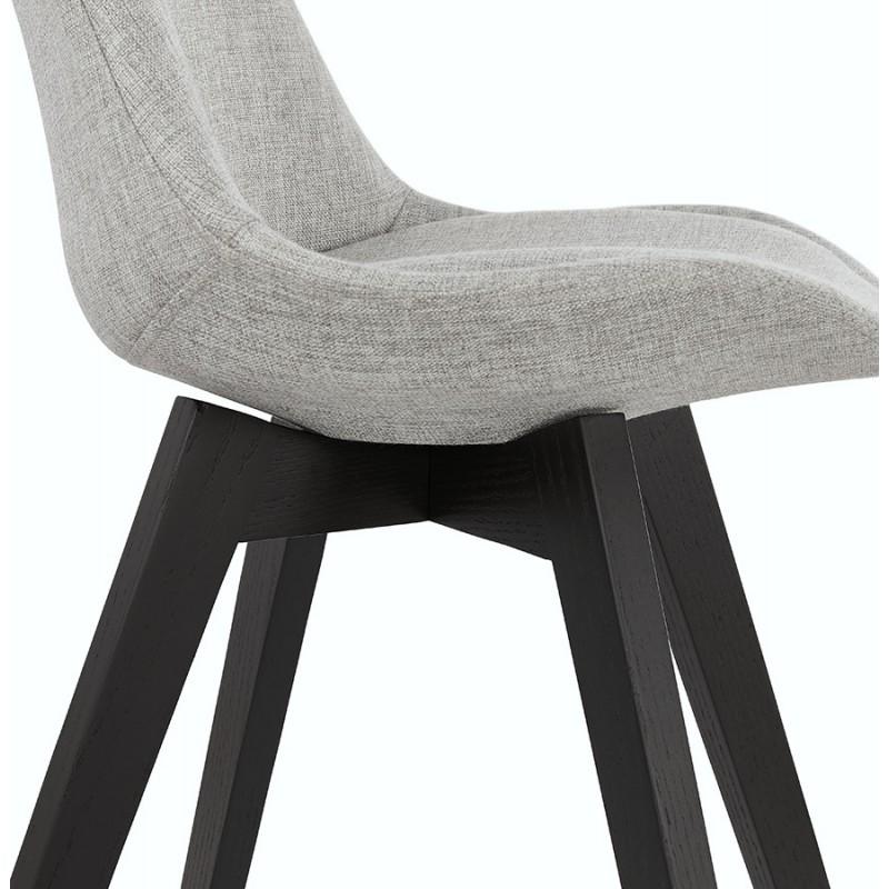Chaise design en tissu pieds bois noir NAYA (gris) - image 48234