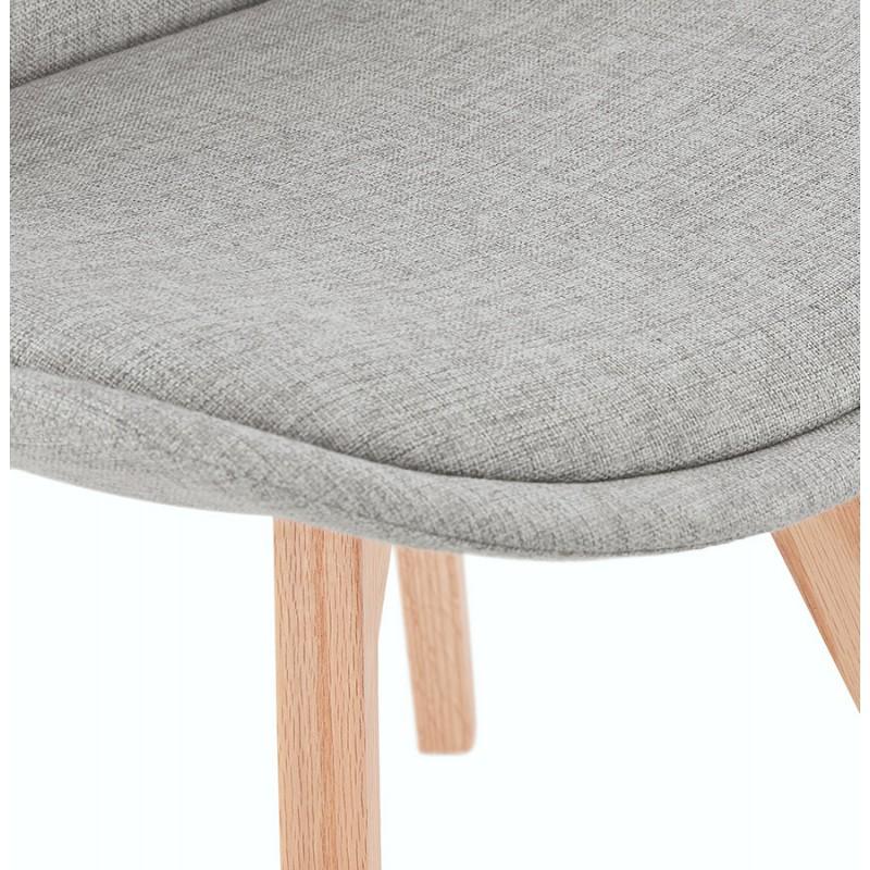 Chaise design en tissu pieds bois finition naturelle NAYA (gris) - image 48237