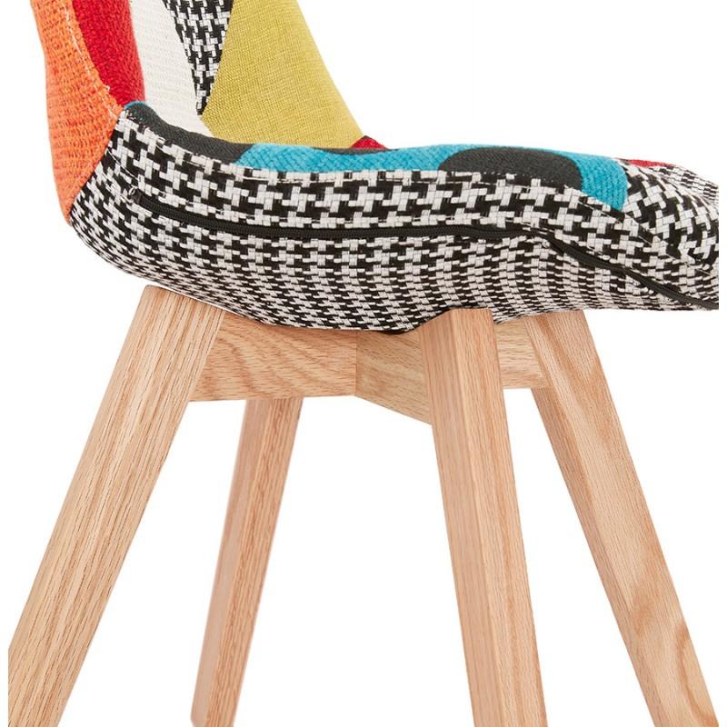 Chaise bohème patchwork en tissu pieds bois finition naturelle MARIKA (multicolore) - image 48240