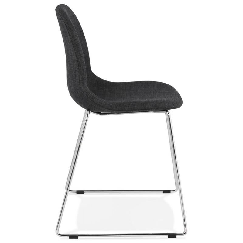 Chaise design empilable en tissu pieds métal chromé MANOU (gris antracite) - image 48260