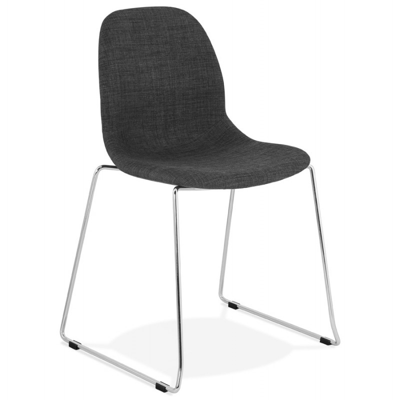 Chaise design empilable en tissu pieds métal chromé MANOU (gris antracite) - image 48261