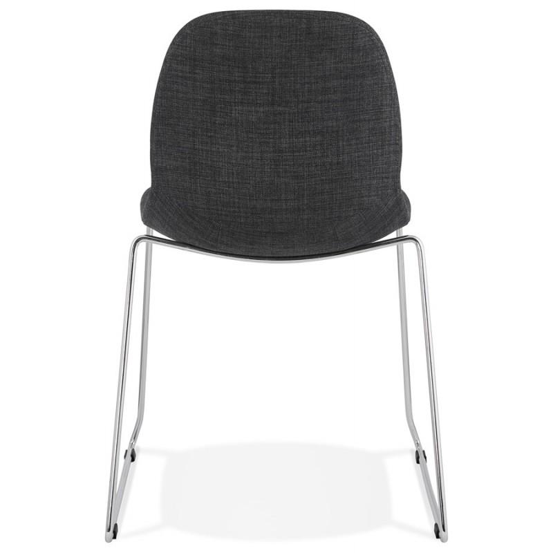 Chaise design empilable en tissu pieds métal chromé MANOU (gris anthracite) - image 48263