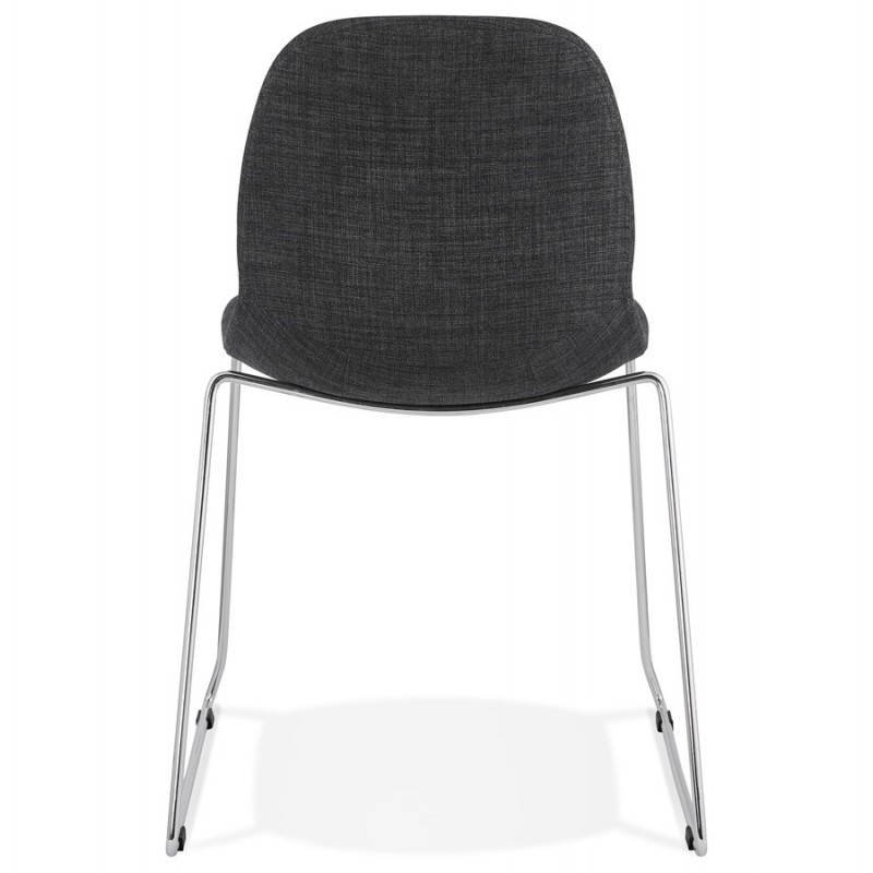 Chaise design empilable en tissu pieds métal chromé MANOU (gris antracite) - image 48263