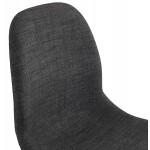 Chaise design empilable en tissu pieds métal chromé MANOU (gris anthracite)