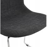 Chaise diseño empilable en tissu pieds métal chromé MANOU (gris anthracite)