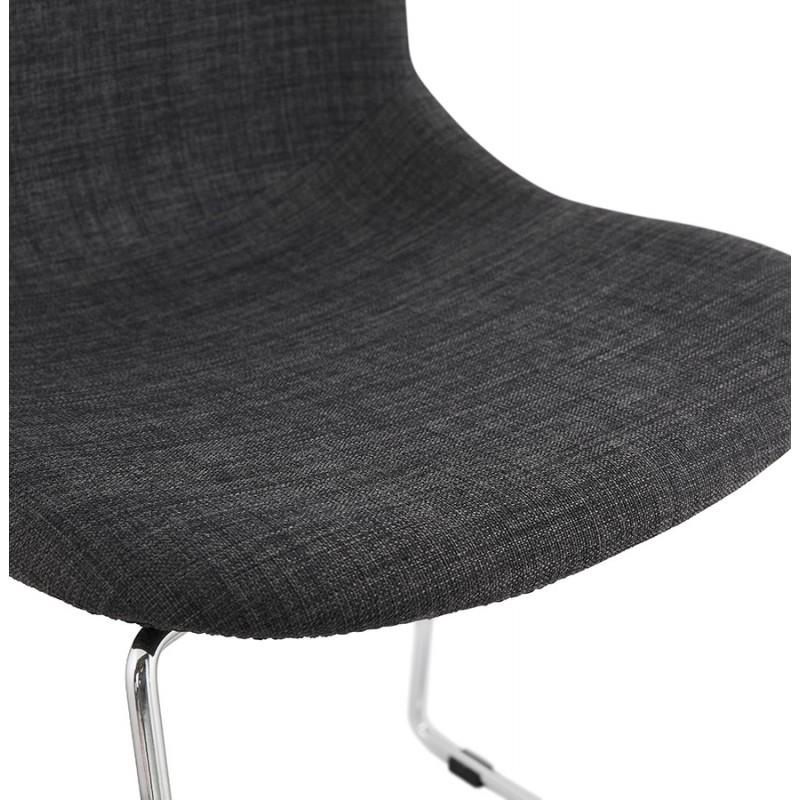 Chaise design empilable en tissu pieds métal chromé MANOU (gris anthracite) - image 48266