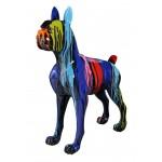 Statue sculpture décorative design CHIEN FUNNY en résine H152 cm (Multicolore)