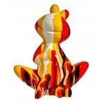 Statua scultura decorativa disegno GRENOUILLE ASSISE TRASH in resina H50 cm (Multicolor)