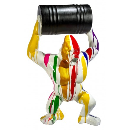 Statue sculpture décorative design GORILLE TRASH en résine H140 cm (Multicolore)