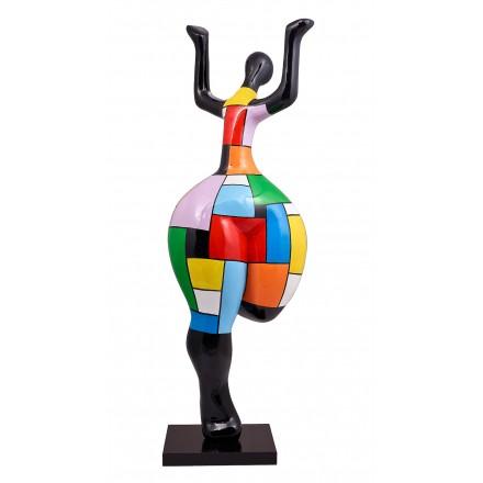 Statue sculpture décorative design FEMME BRAS LEVES en résine H150 cm (Multicolore)
