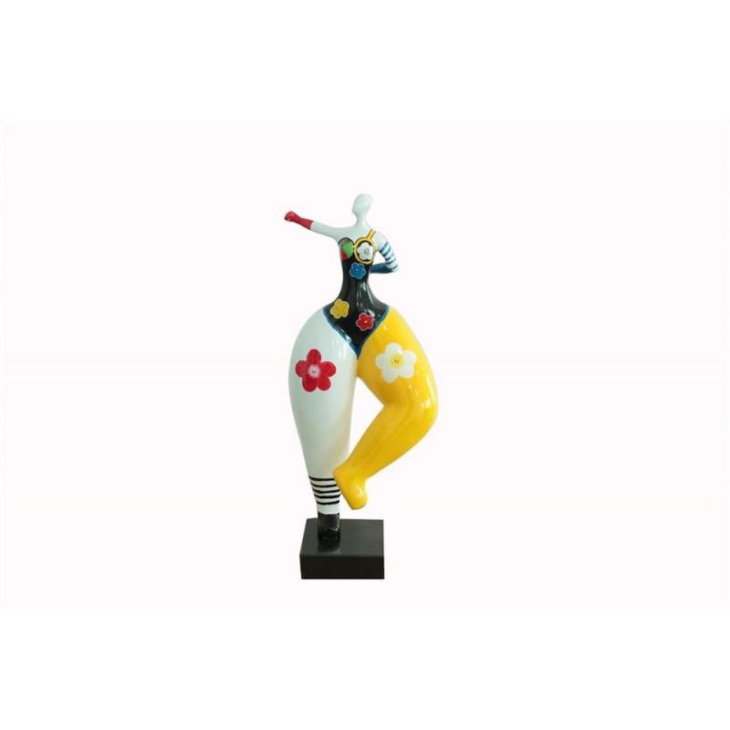 Statue sculpture décorative design FEMME POP ART en résine H68 cm (Multicolore)
