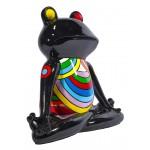 Statue sculpture décorative design GRENOUILLE ZEN en résine H40 cm (Multicolore)
