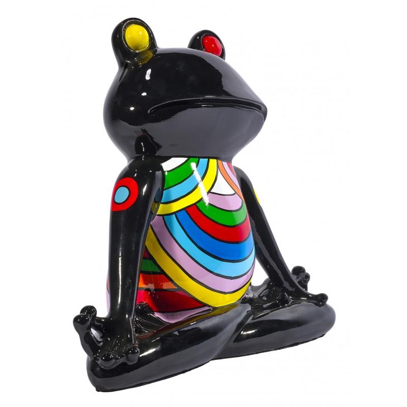 Statue sculpture décorative design GRENOUILLE ZEN en résine H40 cm (Multicolore) - image 48291