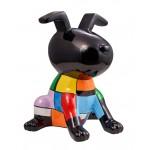 Statue sculpture décorative design CHIEN OREILLES LEVEES en résine H50 cm (Multicolore)
