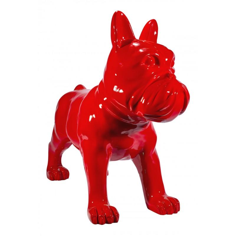 Statue sculpture décorative design CHIEN DEBOUT en résine H80 cm (Rouge)