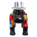 Statue sculpture décorative design GORILLE 4 PATTES en résine H40 cm (Multicolore)