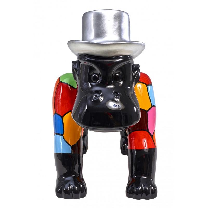 Statue sculpture décorative design GORILLE 4 PATTES en résine H40 cm (Multicolore) - image 48322