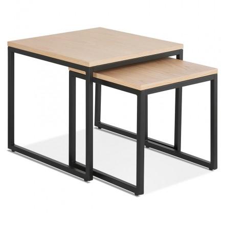 PreSCILLIA tavoli in legno e metallo nero (finitura naturale)