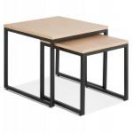 Tables gigognes en bois et métal noir PRESCILLIA (finition naturelle)