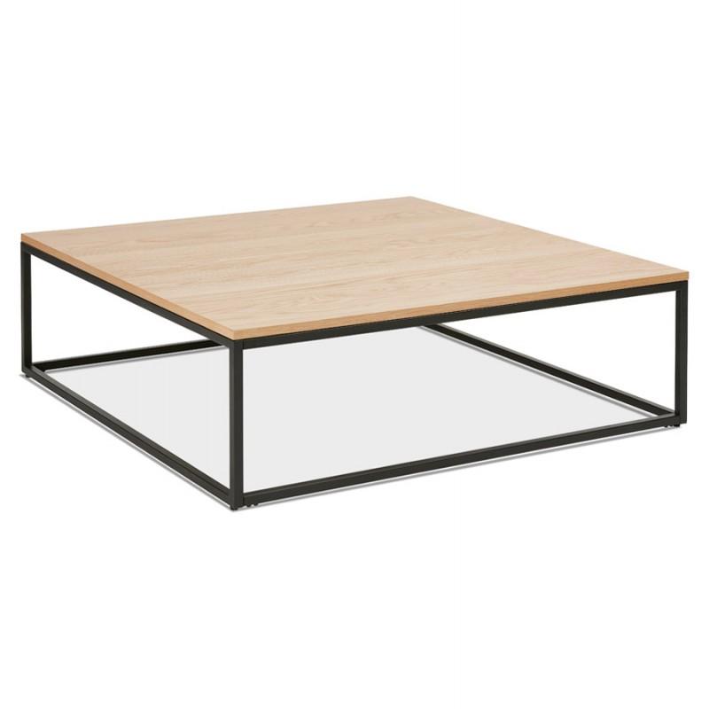 Table basse design en bois et métal noir ROXY (finition naturelle)