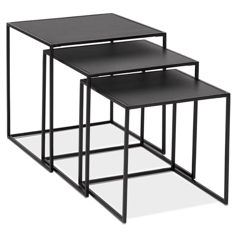 Set de 3 Tables gigognes style industriel en bois et métal noir ROSY (noir) - image 48382