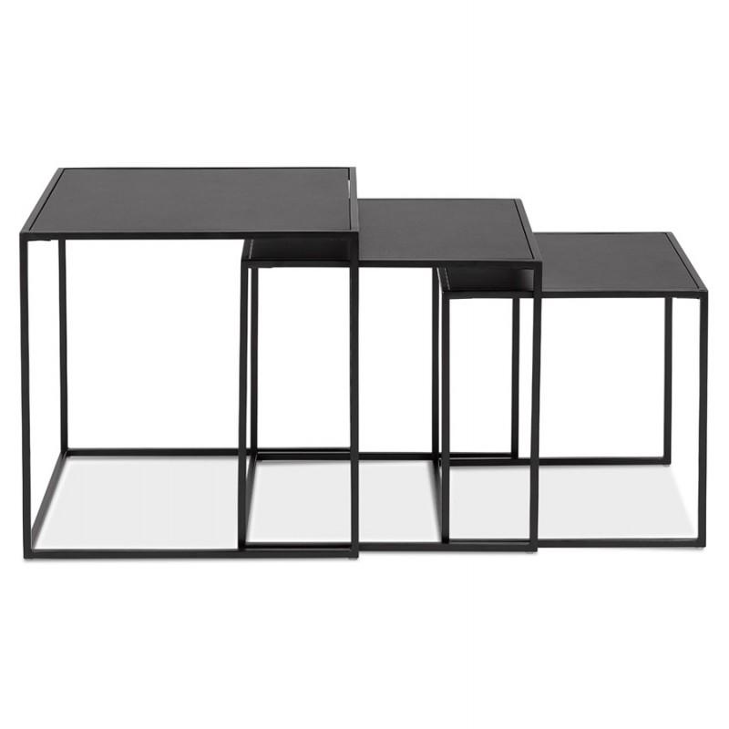 Satz von 3 Tische Gigognes Industriestil in Holz und schwarz Metall ROSY (schwarz) - image 48383