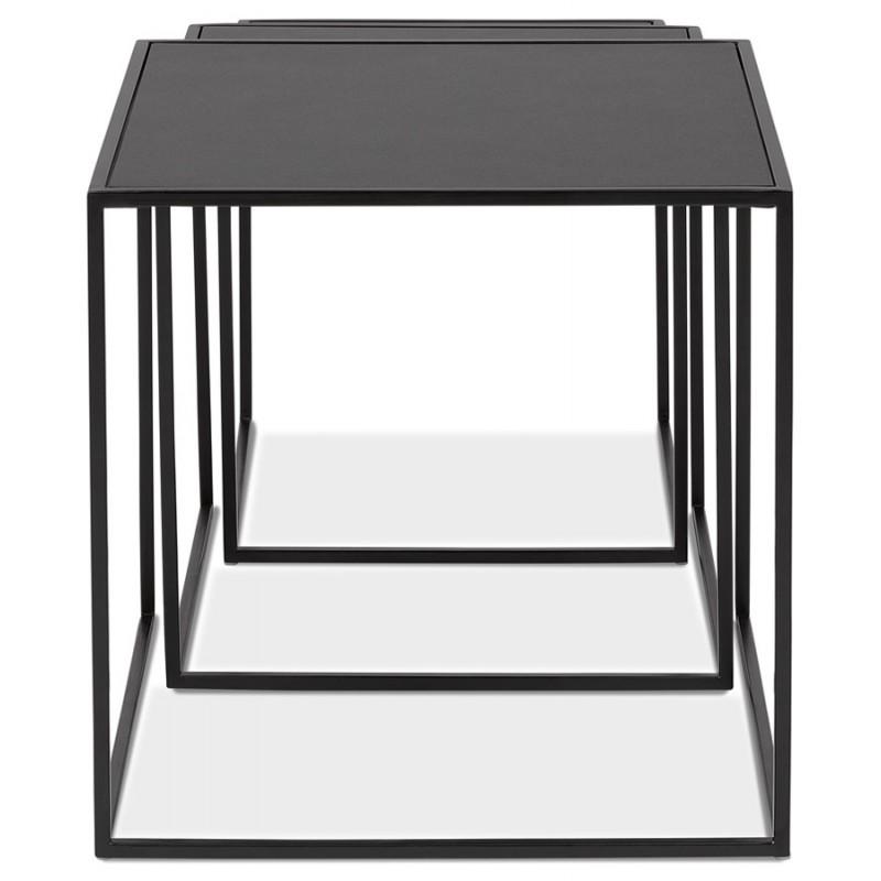 Satz von 3 Tische Gigognes Industriestil in Holz und schwarz Metall ROSY (schwarz) - image 48386