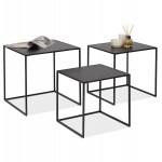Satz von 3 Tische Gigognes Industriestil in Holz und schwarz Metall ROSY (schwarz)