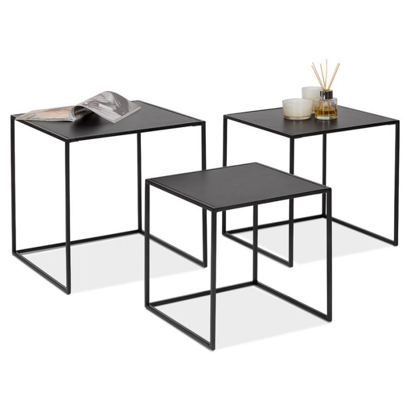 Satz von 3 Tische Gigognes Industriestil in Holz und schwarz Metall ROSY (schwarz) - image 48394