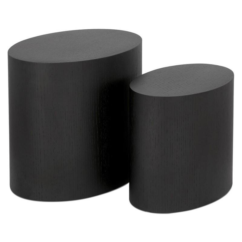 Set de 2 tables d'appoint design en bois RUSSEL (noir)