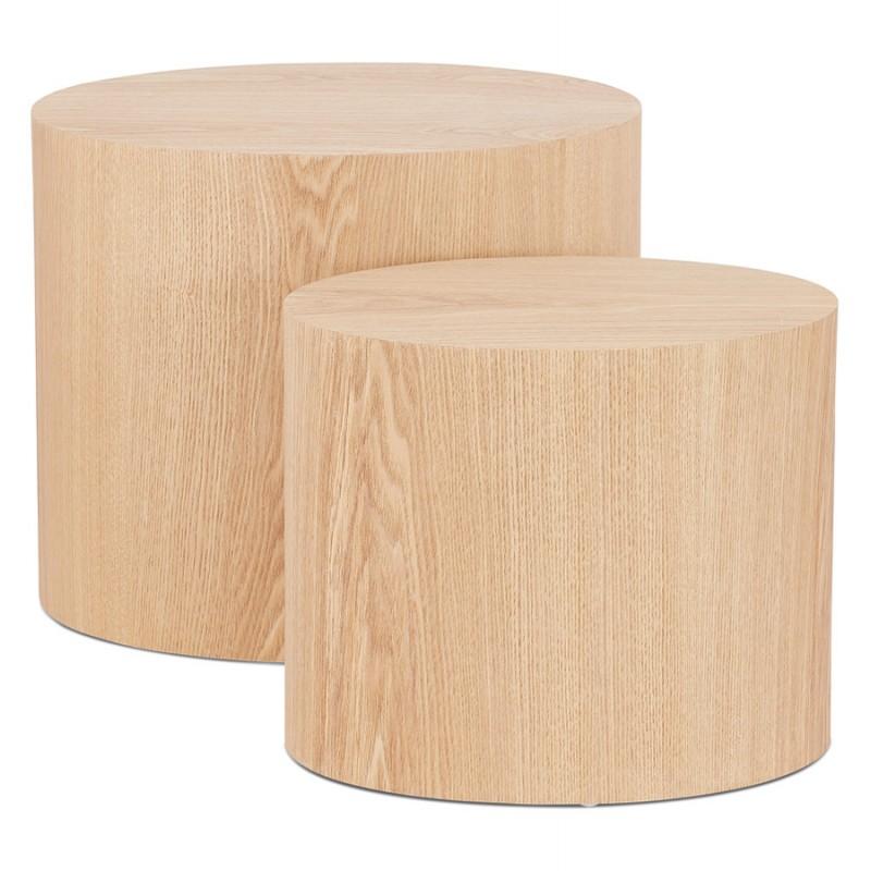 Juego de 2 mesas laterales de diseño de madera RUSSEL (acabado natural) - image 48403