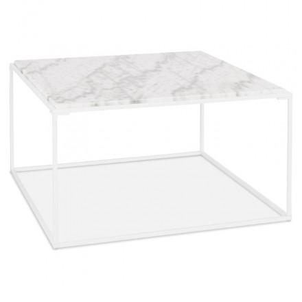 Tavolino in pietra marmorizzata ROBYN (bianco)
