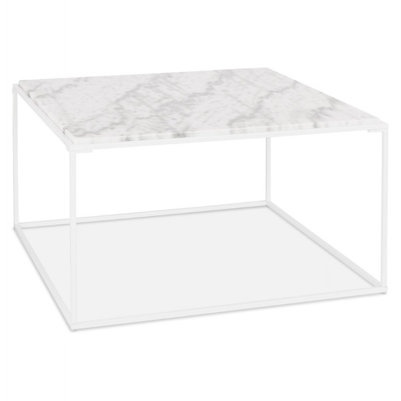 Table basse design en pierre marbrée ROBYN (blanc)