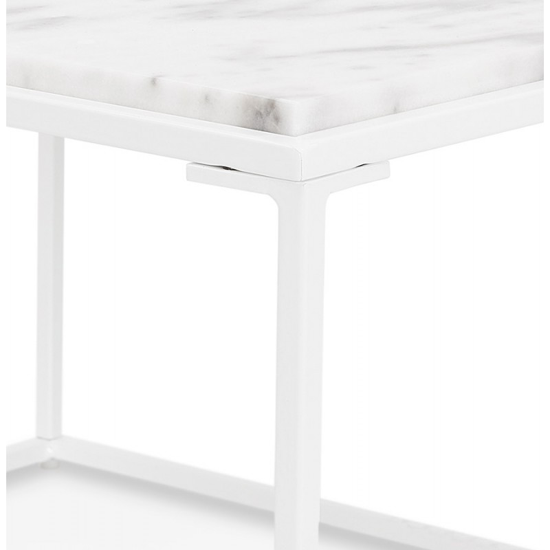 Table basse design en pierre marbrée ROBYN (blanc) - image 48421