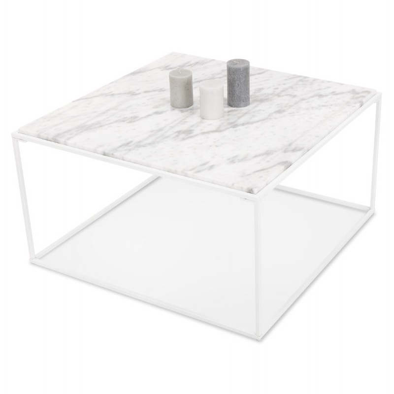Table basse design en pierre marbrée ROBYN (blanc) - image 48424