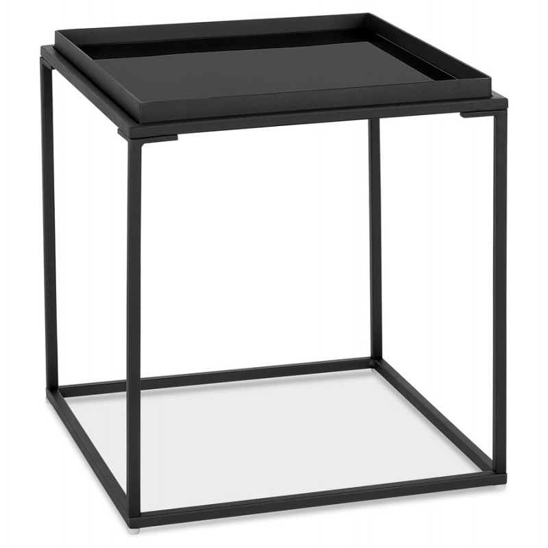Mesa auxiliar de diseño de vidrio y metal RAQUEL MINI (negro)