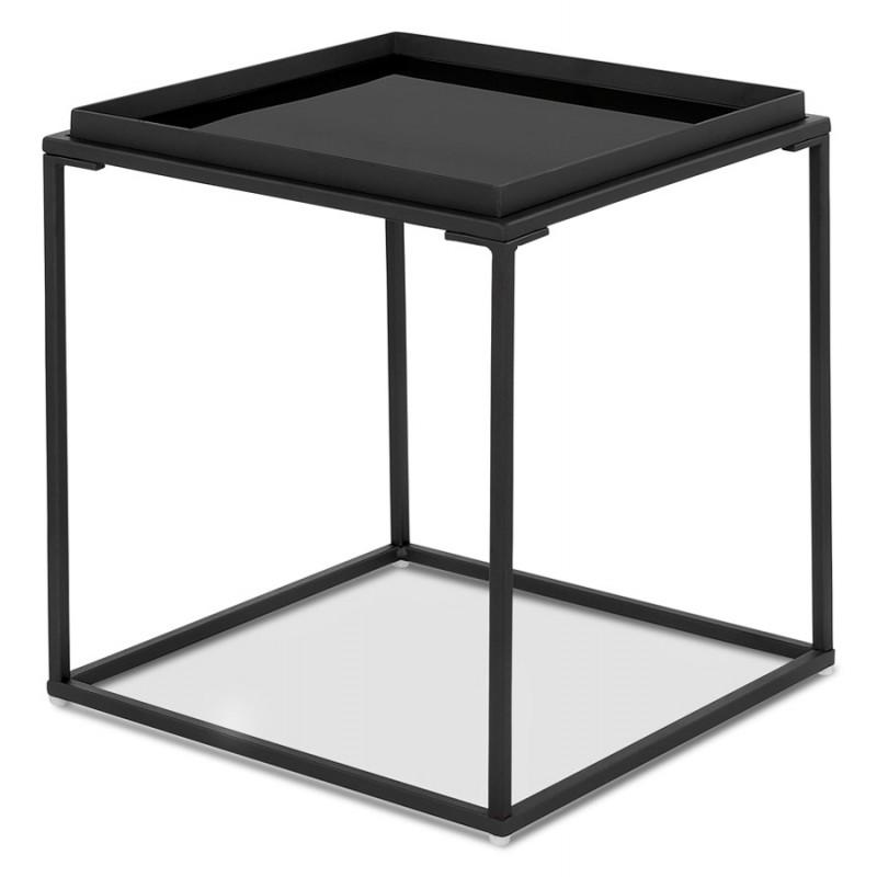 RAQUEL MINI glass and metal design side table (black) - image 48427