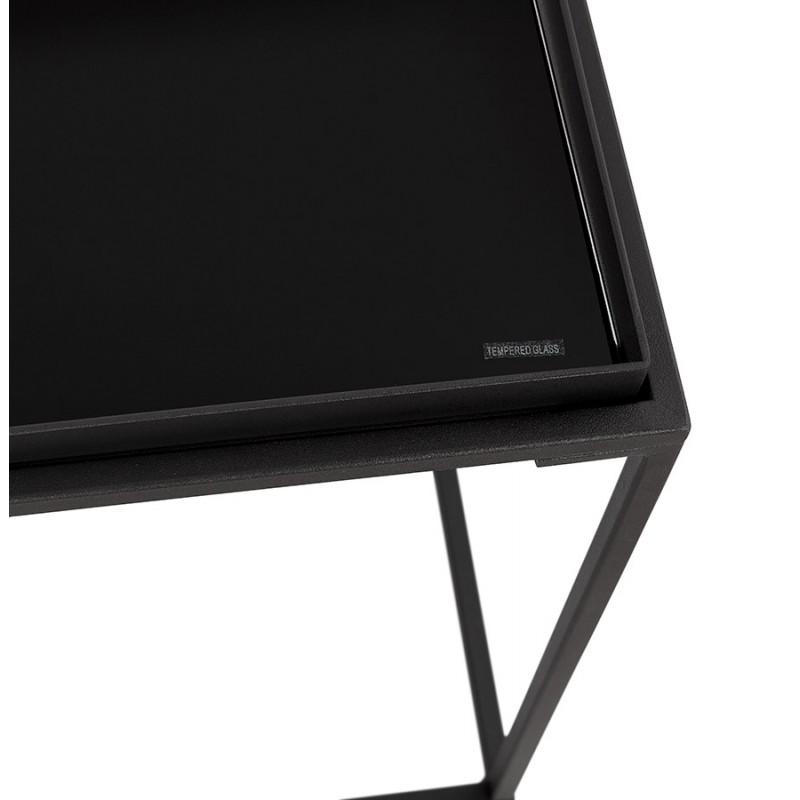 RAQUEL MINI glass and metal design side table (black) - image 48430